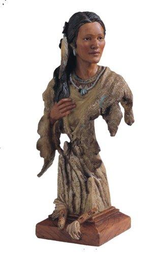 "12"" Inch Indian Girl Head & Bust Native Indio India Americano Statue American"