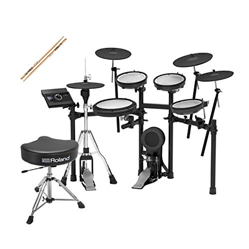 Roland TD-17KVX-S V-Drums Electronic Drum Set with Roland Drum Throne and 3 pairs of Zildjian trigger sticks