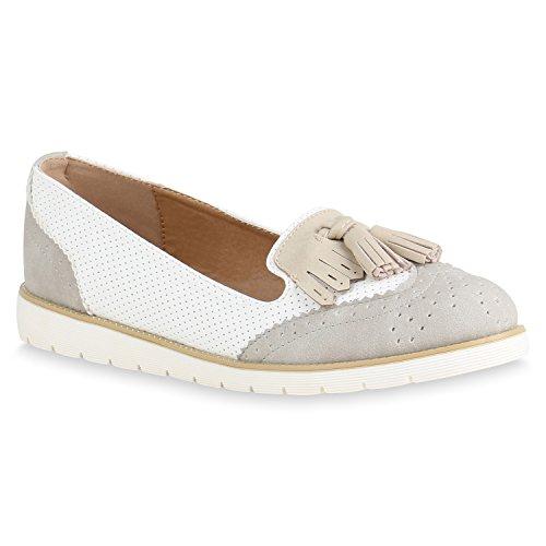 Flats Damen Glitzer Grau Lack Plateau Slippers Slipper Flandell Loafer  Metallic Quasten Loafers Lochung Agueda Schuhe ... 551c0deb0f