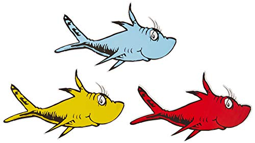 Eureka Back to School Dr. Seuss One Fish, Two Fish Paper Cut Out Classroom Decorations, 36 pc, 5.5