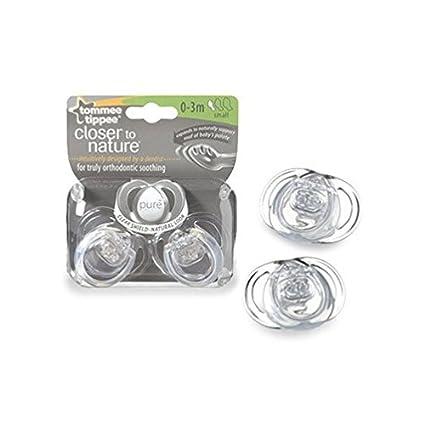 Chupete ortodóncico transparente Closer to Nature de Tommy Tippee. Para bebés de 0 a 3 meses