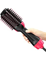 Hot Air Brush, One Step Hair Dryer & Styler & Volumizer Multi-functional High-power 3-in-1 Salon Negative Ion Hair Straightener & Curly Hair Comb for All Hair Type with Anti-Scald Feature