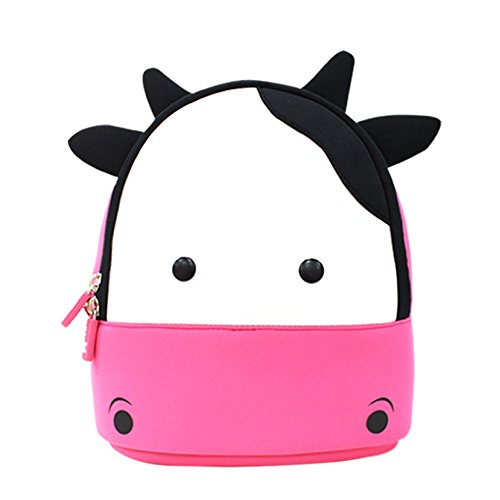 YISIBO 2-6 Years Kids Backpack 3D Cute Cartoon School Toddler Sidesick Bags Gift for 2-8 Years Old (Cow-Pink) (Cow Money Box)