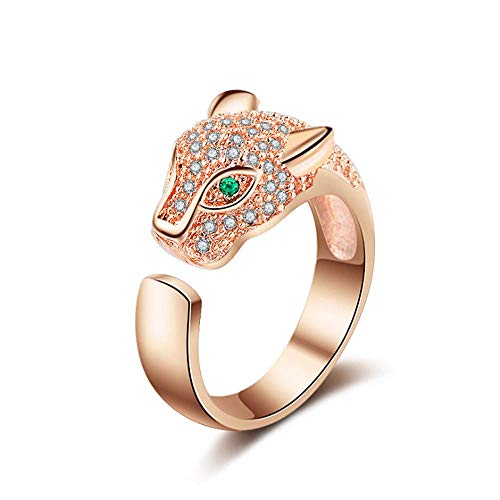 (TULIP LY Leopard Head Ring Adjustable White Gold Ring with Cubic Zirconia Inlay Uniquely Stylish Ring for Women (Rose-Gold-Plated-Brass))