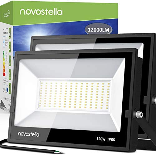 Novostella 120W Exterior LED Flood Light 2 Pack 12000lm Outdoor Super Bright Security Lights 5000K Daylight White IP66 Waterproof Outside Led Light Fixture Floodlights for Backyard Parking Stadium