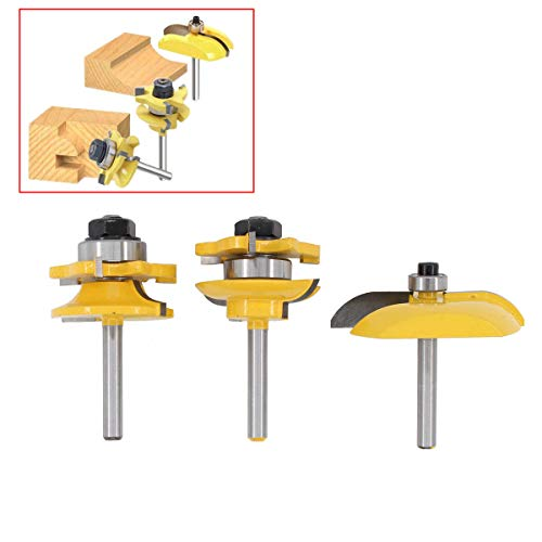 (3pcs Bit Raised Panel Cabinet Door Router Bit Sets 1/4 Inch Milling Cutter Tools Stile Ogee Tool 1/4