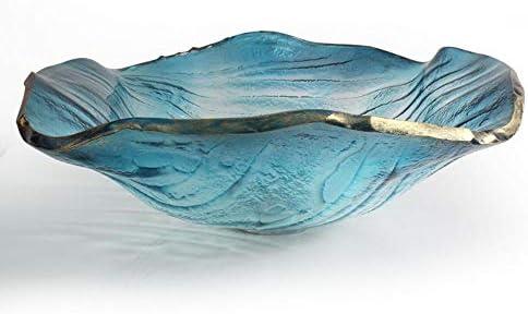洗面化粧台シンク バスルームのシンクブルーアーティスティック強化ガラス容器シンクコンボでオイルラバーブロンズの蛇口、ポップアップドレイン 和風 洋風 お洒落な 節水 節約 (Color : Clear, Size : 47x47x11.7cm)