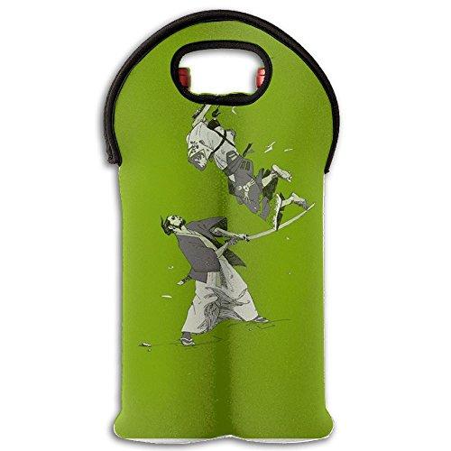 100%Polyester Stainless Steel 3D Pattern Japan Japanese Ninja Samurai Foldable Insulated Neoprene Double Bottle Wine Tote