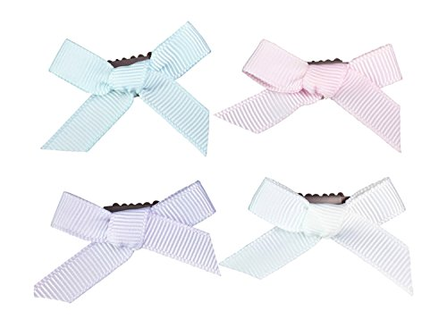Baby Wisp 4 Hand Tied Ribbon Tiny Hair Bows Barrettes Gift Set Baby Girls Infant Fine Hair Accessory Newborn ()