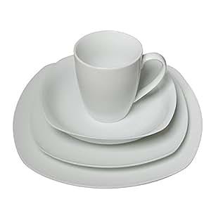 Francois et Mimi 16-Piece High-Fire Porcelain Dinnerware Set, Classic Square, White