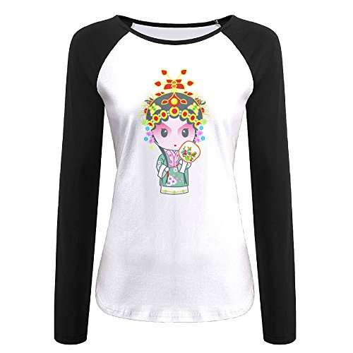 Creamfly Womens Chinese Peking Opera Long Sleeve Raglan Baseball Tshirt ()