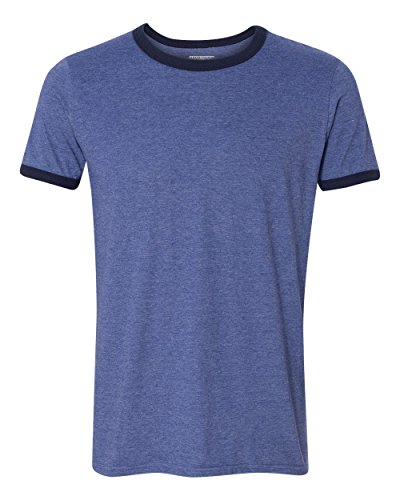 T-shirt Ringer Heather Mens (KAMAL OHAVA Men's Lightweight Vintage Ringer T-Shirt, L, Heather Blue)