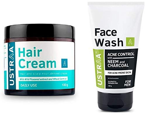 Ustraa Hair Cream for Daily Use (1 Unit)100g And Ustraa Face Wash Acne Control, Neem and Charcoal, 100 g