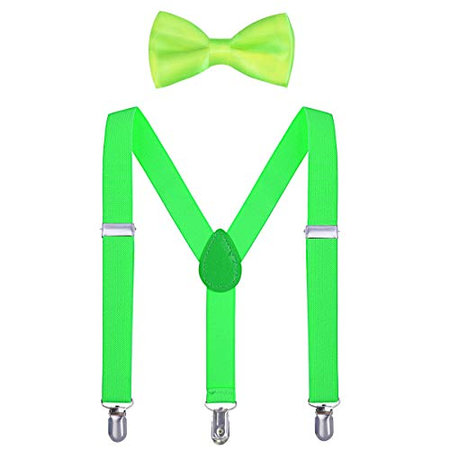 Kids Suspender Bow Tie Sets - Adjustable Braces With Bowtie Gift Idea for Boys and Girls by WELROG (Fluorescent green, 25Inches (6 Months to 7 Years))