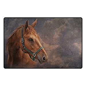 U LIFE Vintage Cute Horse Animal Large Doormats Area Mats Runner Floor Mat Cover Carpet for Entrance Way Living Room Bedroom Kitchen Office 36 x 24 Inch