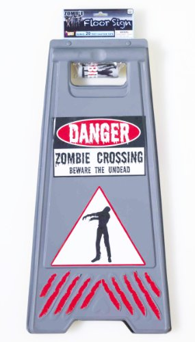 Forum Novelties Zombie Crossing Sign and Tape Halloween Decoration Prop -