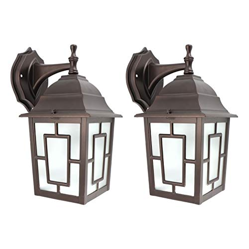 IN HOME (2 Pack) One-Light Outdoor Wall Down Lantern Fixture, Bronze Finish Cast Aluminum Housing with Frosted Glass Shade, Waterproof Exterior Wall Lamp Light for Front Porch, Yard, Garage ETL Listed