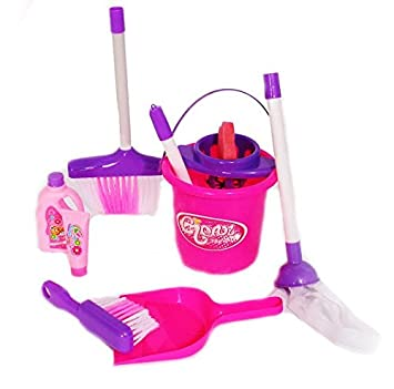 Dazzling Toys Little Girls Just Like Mom Cleaning Set Includes Broom Dust Brush