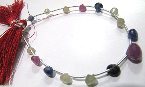 AAA Quality Natural Precious Genuine Multi Sapphire, Onion Shape Faceted Drop Briolette Beads, Size Approx 5-10mm, Strand 8 Inches Long