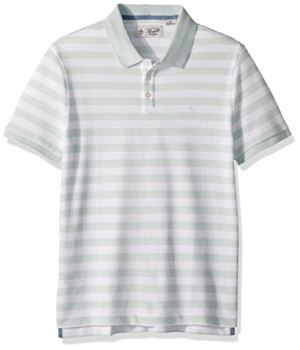 Original Penguin Men's Short Sleeve Pointelle Stripe Polo, Pastel Blue, Medium (Penguin Striped Polo Shirt)