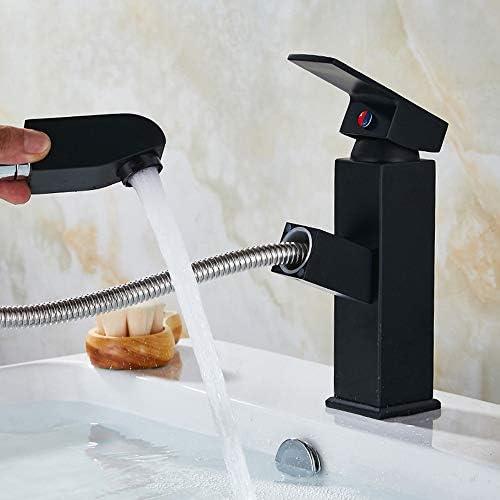 黒プル型洗面器ホット&コールド蛇口洗えるヘッドテレスコピックシングルホール銅盆地洗面台盆地蛇口 イカンあなたが持っているに値する (色 : Black)