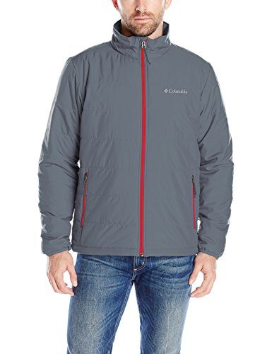 Columbia Men's Saddle Chutes Jacket, Graphite/Mountain Red, Large by Columbia