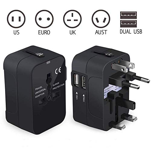 Universal Travel Adapter, International Power Adapter, Worldwide Travel Charger with 2.4A USB and USB-C 5V/3A Wall Charger for US, AU, EU, UK, Asia Covers Over 150+ Countries (Red) by CovertSafe (Image #1)