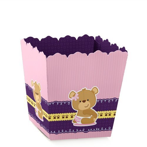 Girl Baby Teddy Bear - Party Mini Favor Boxes - Baby Shower or Birthday Party Treat Candy Boxes - Set of 12]()