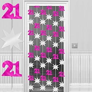 21 cumpleaños rosa y plata puerta cortina - 2m: Amazon.es ...