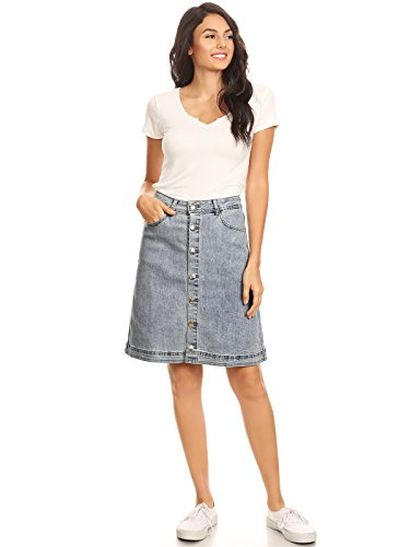 Anna-Kaci Womens Vintage Stretch Denim Jean Button Flare Skirt with Side Pocket, Blue, Small