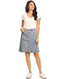 Anna-Kaci Womens Vintage Stretch Denim Jean Button Flare Skirt with Side Pocket