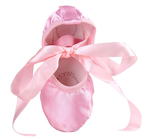 LONSOEN Ballet Slipper Shoes Stretch Satin Ballerinas Dance Yoga Flats with Pure Ribbons for Girls (Toddler/Little Kid/Big Kid SHC553 Pink - Ribbon Slippers Pink