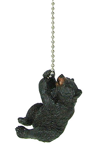 Rustic Black Bear (Rustic Black Bear climbing Ceiling Fan Pull chain extender - Lodge Decor)