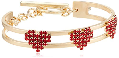BCBG Generation Women's Red Stone Multi Heart Toggle Cuff Bracelet, Red, One Size