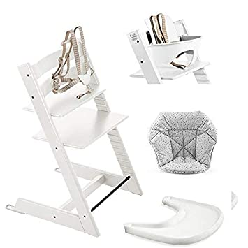 Amazon.com: Stokke silla alta, color blanco Bundle con Mini ...