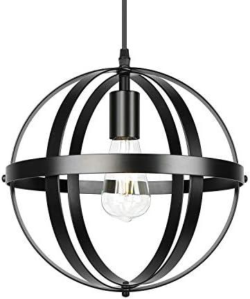 Black Industrial Metal Chandelier Rustic Farmhouse Hanging Lights Globe Pendant Lighting for Kitchen Island Dining Room Bedroom Living Room