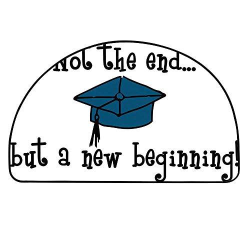 - YOLIYANA Graduation Decor Semi Circle Mat,Not End But Beginning Motivational Phrase Graduate Cap Mortarboard Decorative Carpet Indoor Mat,37.4