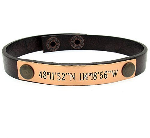 mens personalized latitude products fullxfull copper longitude leather il brown adjustable washer bracelet bracelets
