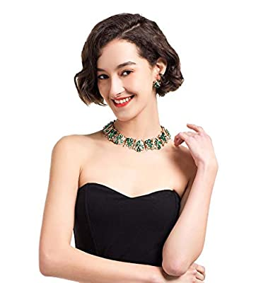 Holylove 7 Colors Crystal Vintage Statement Necklace Earrings Women Jewelry Set