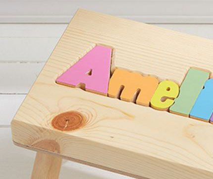 Damhorst Toys & Puzzles Personalized Wooden Child's Name Puzzle Stool Pastel Colors