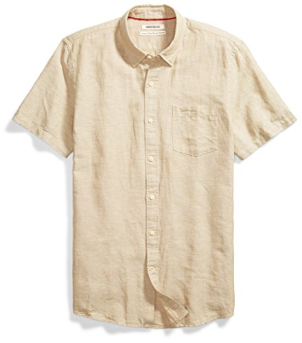 Goodthreads Men's Standard-Fit Short-Sleeve Linen and Cotton Blend Shirt, Khaki, XX-Large ()