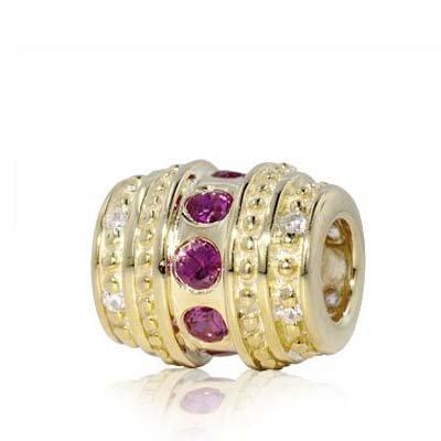 Yellow Gold Vermeil Sterling Silver Spacer Bead Charm with Fuchsia Lab Ruby