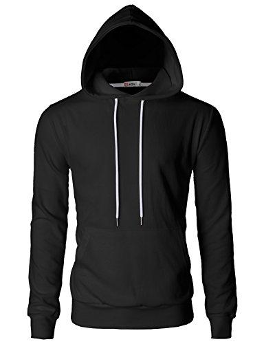 (H2H Mens Basic Slim Fit Long Sleeve Hoodie Sweatshirts Black US 3XL/Asia 4XL)