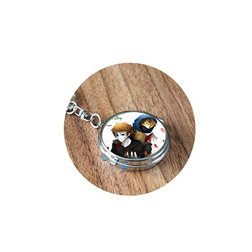 Creepypasta Necklace for Fans Jeff the Killer Ticci Toby Clockwork Anime Patterns Glass Dome Long 1 Folding Mirror Travel Portable Compact Pocket Round Cosmetic