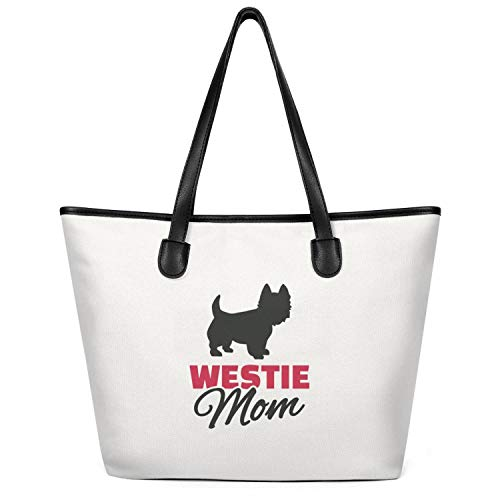 Sdesd Adsd Dog Westie Mom Women's Handbags Canvas Shoulder Bags Casual Tote