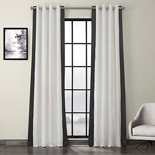 HPD Half Price Drapes PRCT-VC1714-120-GR Grommet Vertical Colorblock Curtain 1 Panel , 50 X 120, Fresh Popcorn and Millstone Grey