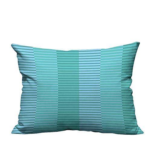 YouXianHome Decorative Throw Pillow Case Abstract Stripes Pattern Digital Image in Light Blue and Kelly Green Ideal Decoration(Double-Sided Printing) 11x19.5 inch]()