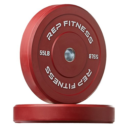 Rep Colored Bumper Plates for Strength and Conditioning Workouts and Weightlifting, 1-3 yr Warranty, No Odor