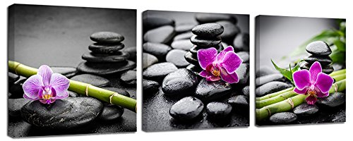 Ardemy Wall Art Canvas Zen Stone Purple Orchids Bamboo Botanical Picture Printing, Modern Aqua Painting 20''x20''x3 Panels Framed Ready to Hang for Bathroom Washroom Spa Hair Salon Home Decoration by Ardemy