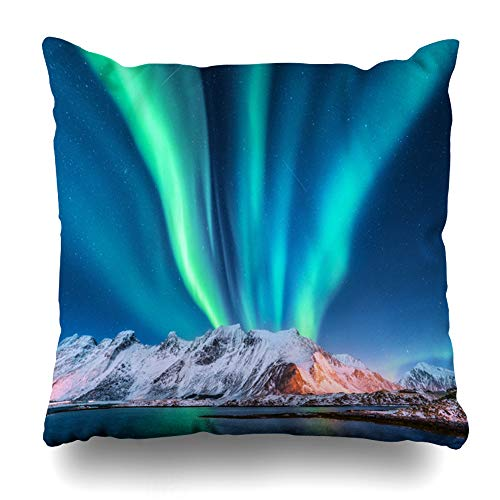 - Ahawoso Throw Pillow Cover Cold Light Aurora Borealis Lofoten Islands Norway Sandy Nature Northern Green Iceland Winter North Zippered Pillowcase Square Size 18x18 Inches Home Decor Pillow Case